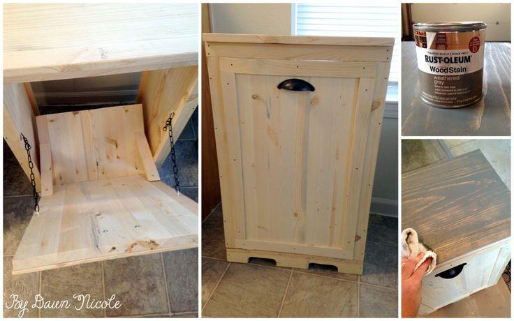 DIY Wood Tilt-Out Trash Can Cabinet