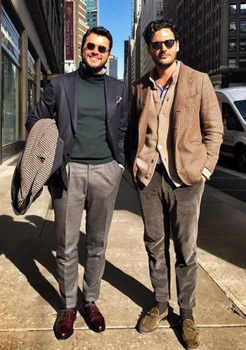 【40代・50代】ネイビージャケット×黒パンツの着こなし(メンズ) | Italy Web