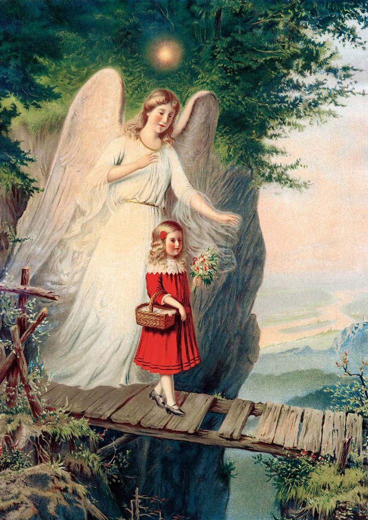 Mädchen bei Gang über Brücke Schutzengel Kind Absturz St. Bü Sankt A3 0047 - Billerantik
