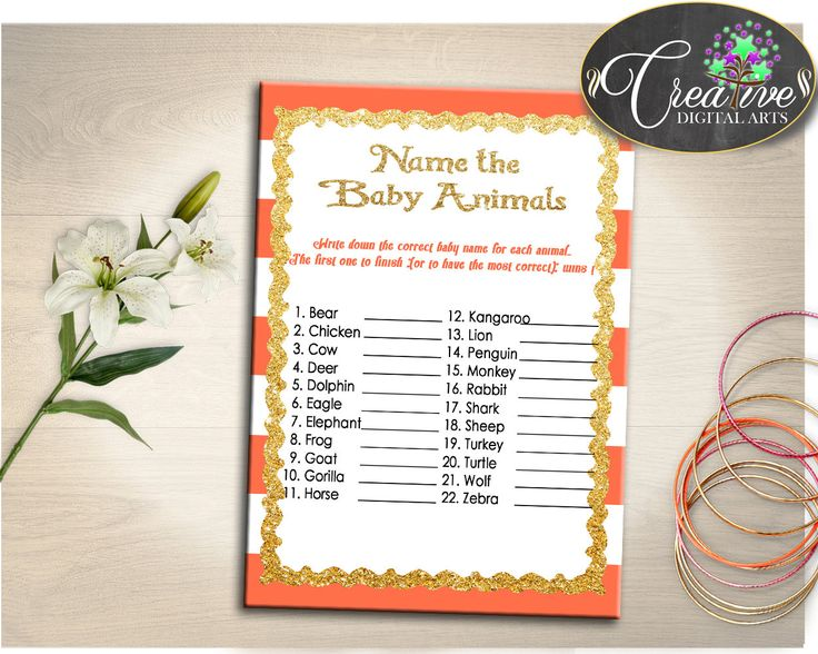 Baby Shower Orange Orange Gold Glitter Answers Included Chick NAME THE BABY Animals, Party Décor, Instant Download - bs003 #babyshowergames #babyshower