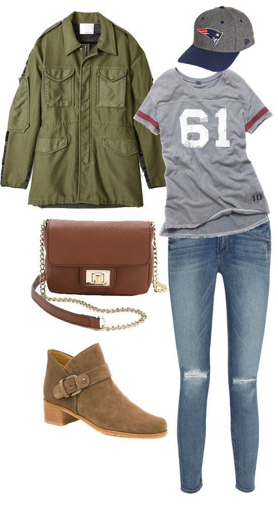 The perfect outfit for tackling that Fall weekend necessity: the football game and it's a Patriots cap to boot!! Woot!!