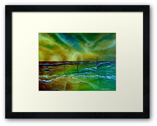 Framed, Art Print, coastal,seascape,scene,beach,waves,water,sandy,sunset,sky,dead,trees,nature,saltwater,ocean,sea,planet,picturesque,vibrant,vivid,colorful,green,blue,impressive,magical,cool,beautiful,powerful,atmospheric,east,coast,fantasy,whimsical,contemporary,imagination,mystical,dreamy,dreamlike,mesmerizing,surreal,realism,fine,oil,wall,art,images,home,office,decor,painting,artwork,modern,items,ideas,for sale,redbubble