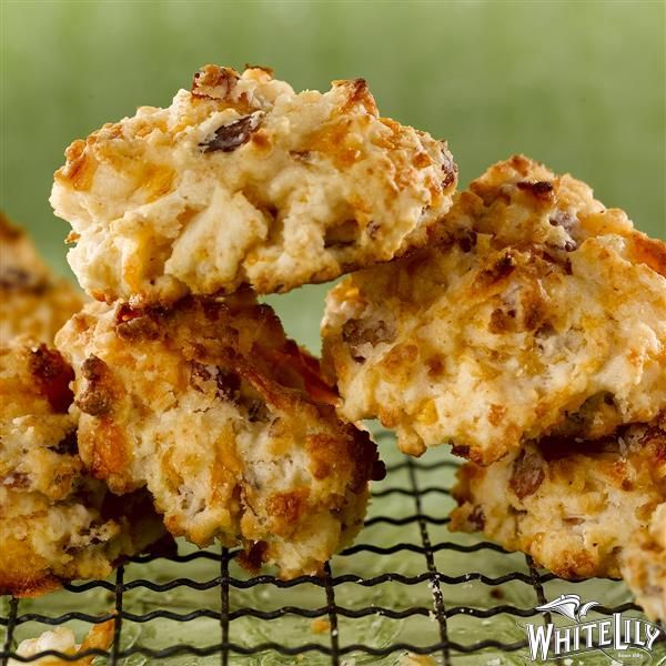 Bacon Cheddar Drop Biscuits from @whitelilyflour