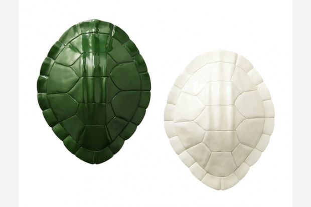 Nate Berkus for #Target lacquer tortoise wall accessory in green and cream, $40. Also available in yellow. A meeting of the minds for the culty worlds of taxidermy and Teenage Mutant Ninja Turtles.