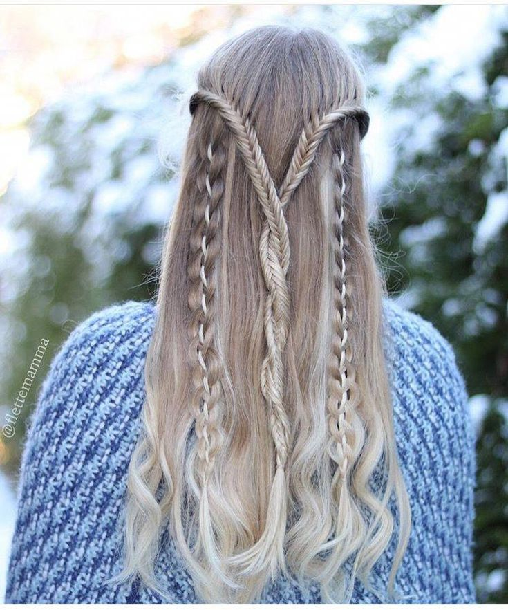 Twisted lace fishtail braids with four-stranded ribbon accent braids #braidedhai…
