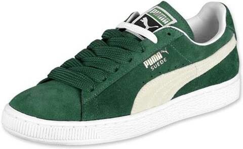kelly green and white puma suede