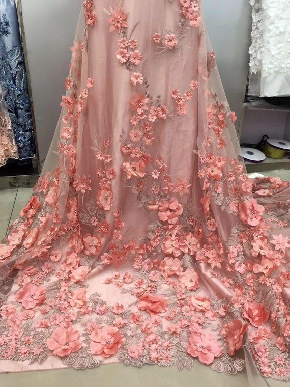 All Embroidered Lace Dress With 3D Flowers