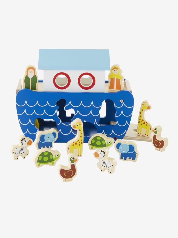 Boîte à formes arche de Noé multicolore - Tous à bord de l'arche de Noé ! Boîte à formes et à encastrements très originale. Les 12 personnages se rangent dans le bateau. www.vertbaudet.fr