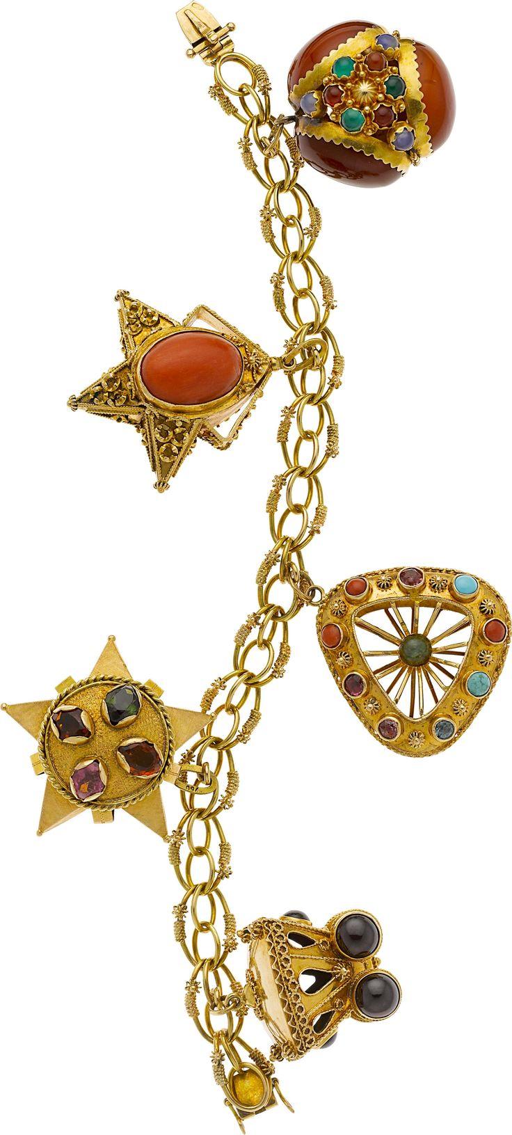 Multistone, Gold Charm Bracelet Estate Jewelrybracelets  Lot #