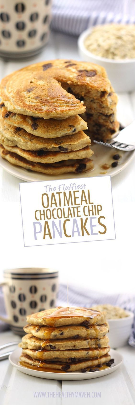 Oatmeal meets pancakes with The Fluffiest Oatmeal Chocolate Chip Pancakes. These pancakes are gluten-free refined sugar-free and high in protein but are the most delicious fluffiest pancakes you will ever eat. They will quickly become a weekend brunch r