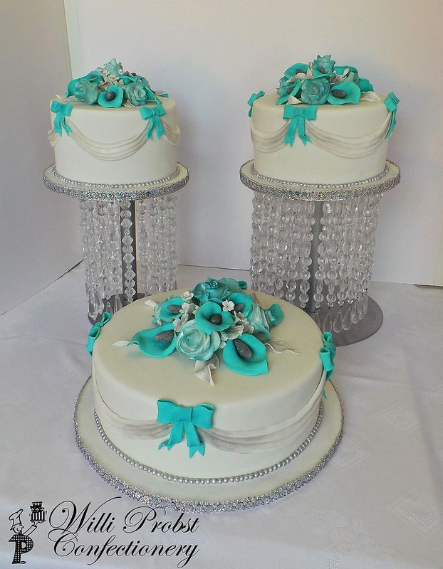 wedding cake layers per tier turquoise and silver themed three tier wedding cake 23075