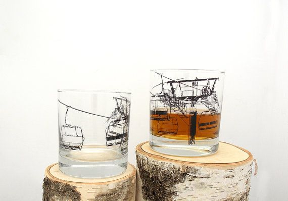Ski Lift Whiskey Glasses  Set of Two Screen by @BlackLanternStudio #etsy #whiskey #home #cocktail #cocktail_glass #denver #colorado #vermont #skiing #ski_lift #dad #mom #housewarming #wedding