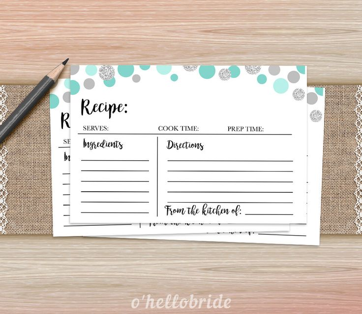 Recipe Cards Bridal Shower Game - Printable Mint Turquoise Bridal Shower - Bridal Shower Game - Bachelorette Party Games 005 by ohellobride on Etsy https://www.etsy.com/listing/293870953/recipe-cards-bridal-shower-game