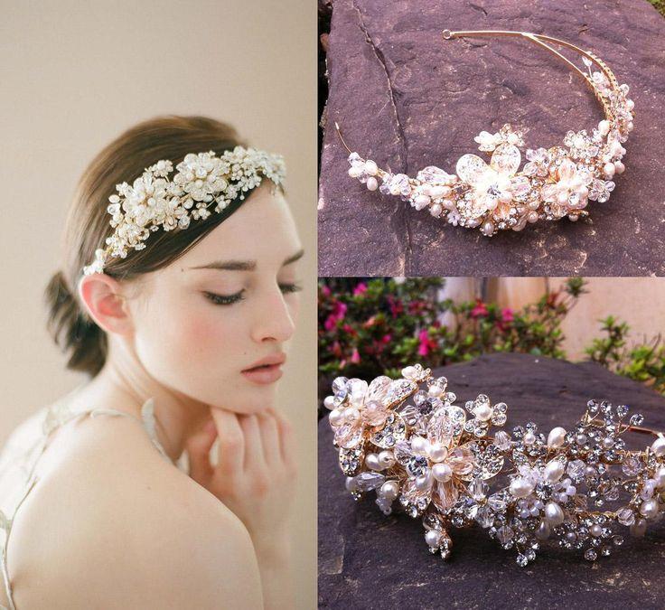 accessori capelli con perline oro fiore capelli vite copricapo beaded wedding copricapo
