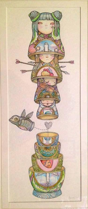 by Chiara Bautista Inspiration pour le challenge art journal - thème : matriochka, poupée russe