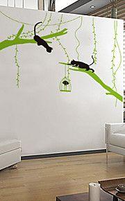 τοίχο αυτοκόλλητα τοίχου αυτοκόλλητα στυλ γατάκι παίζει για το πράσινο δέντρο τοίχο αυτοκόλλητα PVC