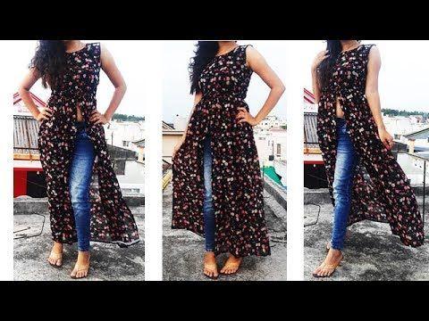 2bef12efc2 DIY Designer Frontslit Gathered Maxi Kurti  Long gown maxi dress cutting  And Stitching - YouTube