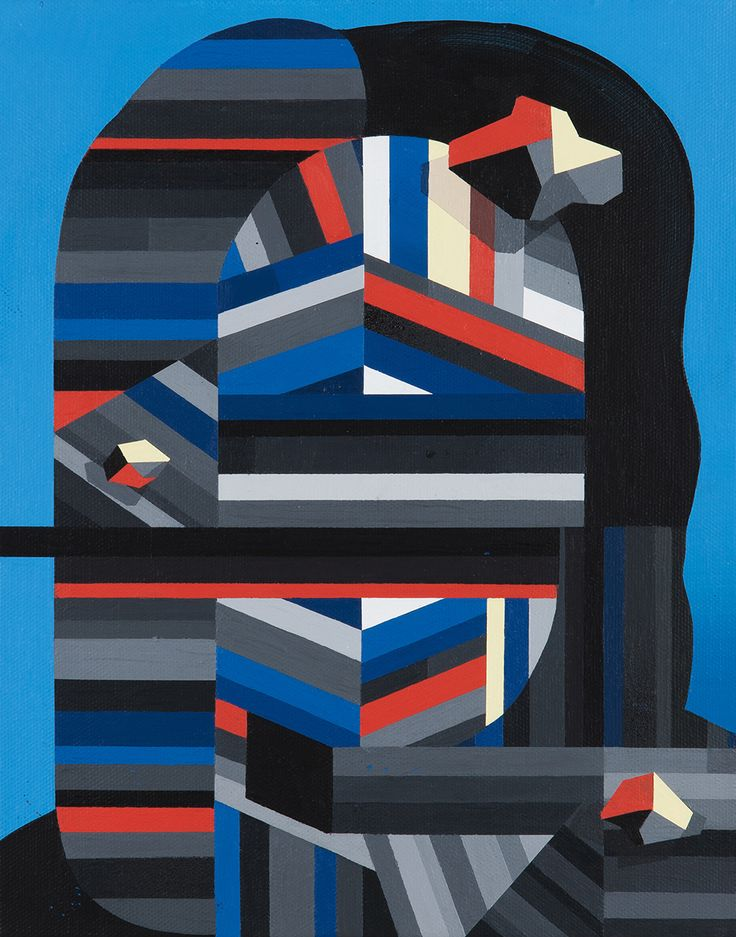"Tobias Kroeger, ""Out of Sight"" Acrylic on Canvas, 2016, 20x30cm - Cubist, Contemporary, Art, Painting, Geometric, Portrait,Figurative, Geometric"