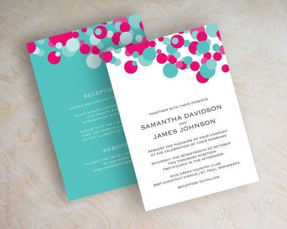 Beautiful Fuchsia And Turquoise Polka Dot Wedding Invitation, Aqua, Teal .