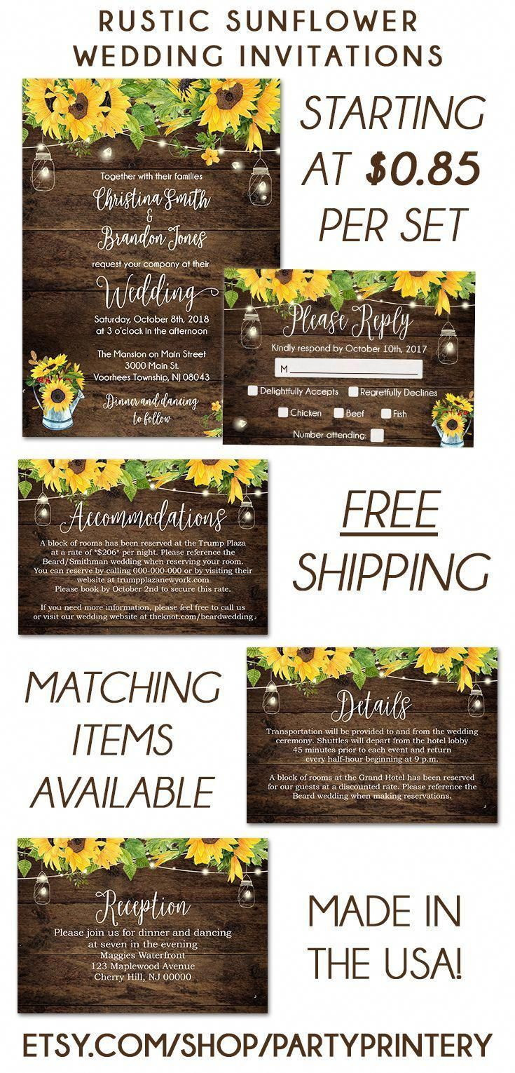 Check out these rustic sunflower wedding invitations! Perfect for a summer or fall wedding. As low as $0.85 per set which includes an invitation, envelope and self mailing RSVP card!