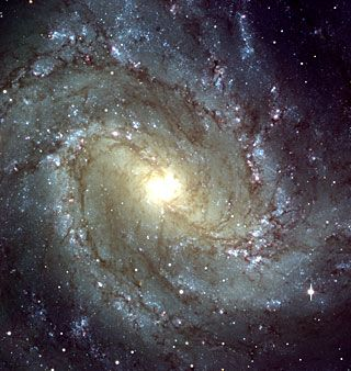 This photo shows the central region of a beautiful spiral galaxy, Messier 83, as observed with the FORS1 instrument at VLT ANTU. The field shown measures about 6.8 x 6.8 arcmin and the images were recorded in frames of 2048 x 2048 pixels, each measuring 0.2 arcsec. North is up; East is left.