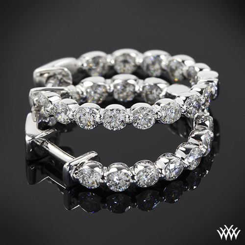 1.00ctw Single Shared Prong Eternity Diamond Hoop Earrings