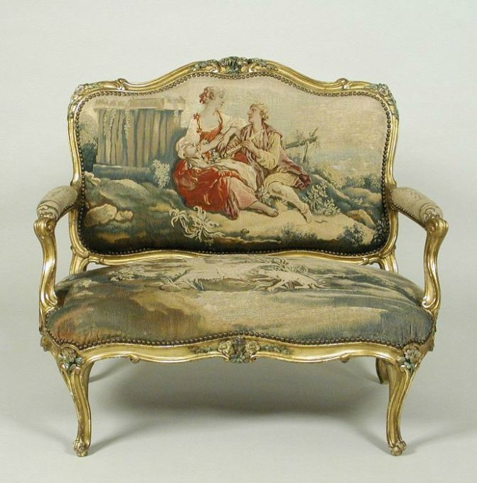Small Canapé with Gilt and Polychrome Frame and Beauvais Tapestry Cover Showing Pastoral Scenes c.1760-65 dyed wool and silk yarns on wool and gilt walnut