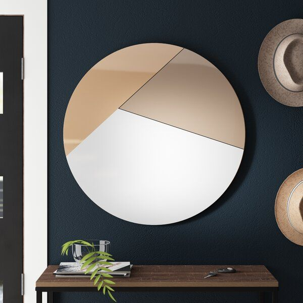 Level Up Your Space With This Accent Mirror The Circle Of The Unframed Mirror Is Split Into Three Asymmetrical Shapes Th In 2020 Modern Mirror Wall Mirror Wall Mirror