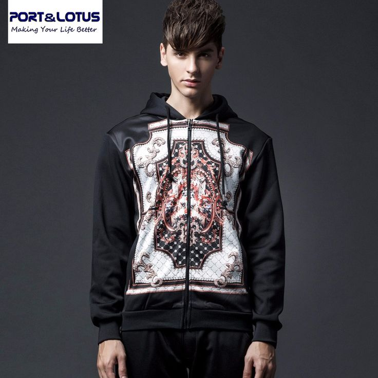 Port&Lotus Men Hoodies Brand New Arriving Fashion Long Sleeve Printed With Cap Casual 052 Mens Clothing wholesale #Affiliate