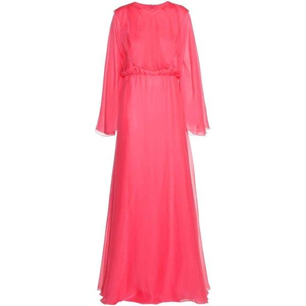 Valentino Silk Gown (3 977 AUD) ❤ liked on Polyvore featuring dresses, gowns, gown, iltapuvut, cocktail/gowns, pink, red evening gowns, red evening dresses, red silk dress and red gown