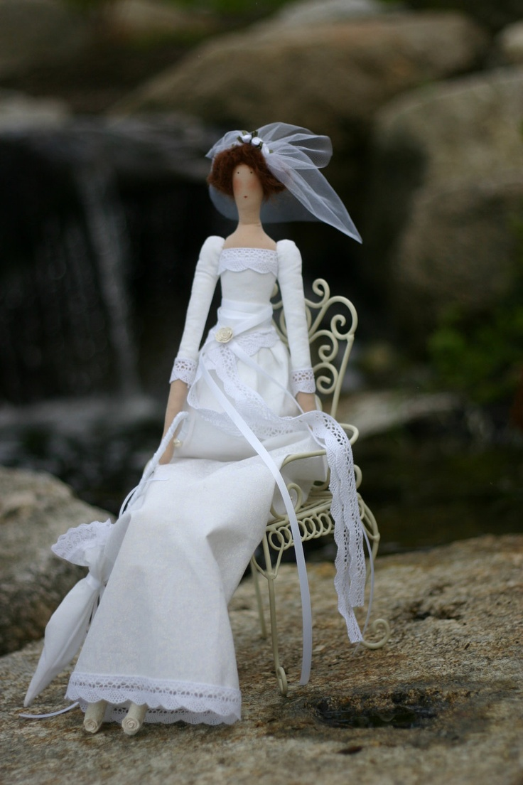 Tilda Fabric doll Bride Julia / wedding gift / interior doll - custom order. $45.00, via Etsy.