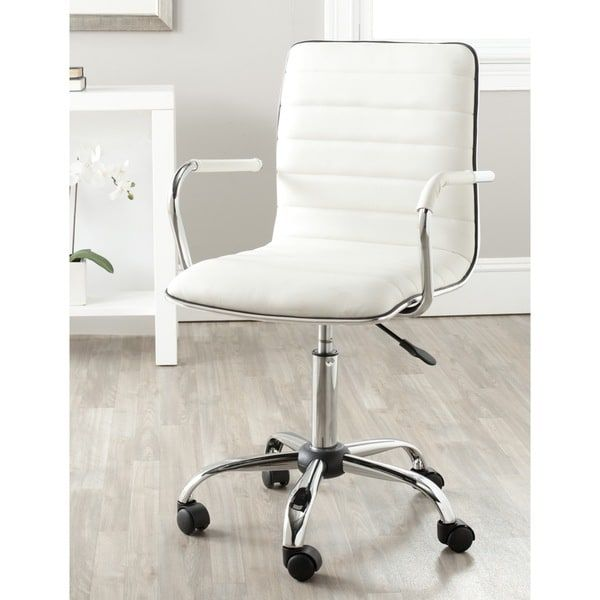 Safavieh Jonika White Adjustable Height Office Desk Chair 22 4