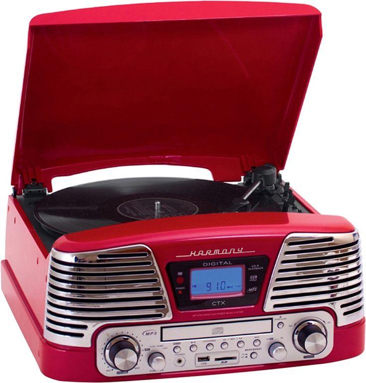 Toca Discos de Vinil Retrô Vermelho com Rádio FM CD Player USB SD Bivolt - CTX Harmony