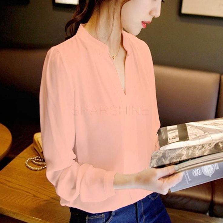 New Elegant Sexy V-neck Long Sleeve Shirts Women Chiffon Shirt Blouse Ladies White Pink Female Office Shirt Plus Size