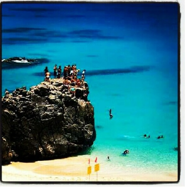 Waimea bay jump rock beach, yay only 49 days till Hawaii