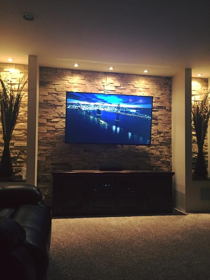 one of our diy customer projects in their basement. Looks incredible. modern faux stone. Get the look fauxstonesheets.com