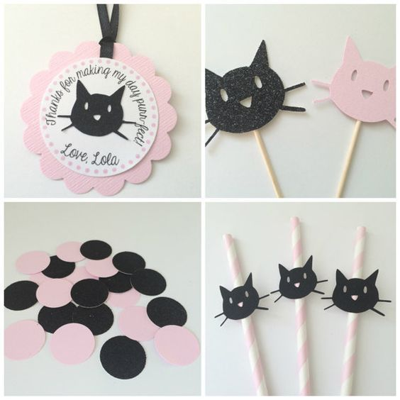 Pink and Black Kitty Cat Party Package. Black Glitter. Kitten Party. Cupcake Toppers, Personalized Tags, Straws and COnfetti: