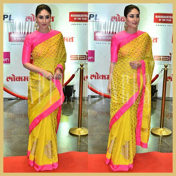 79404593dc29e Kareena Kapoor Khan in Masaba Gupta yellow and pink saree