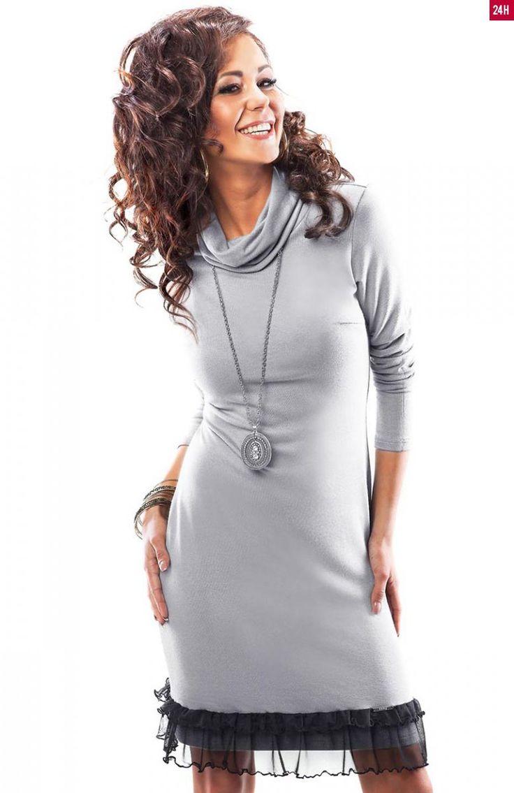 Enny 18010 sukienka Sukienka z golfem z miękkiej wiskozowej dzianiny. Idealna na chłodniejsze dni