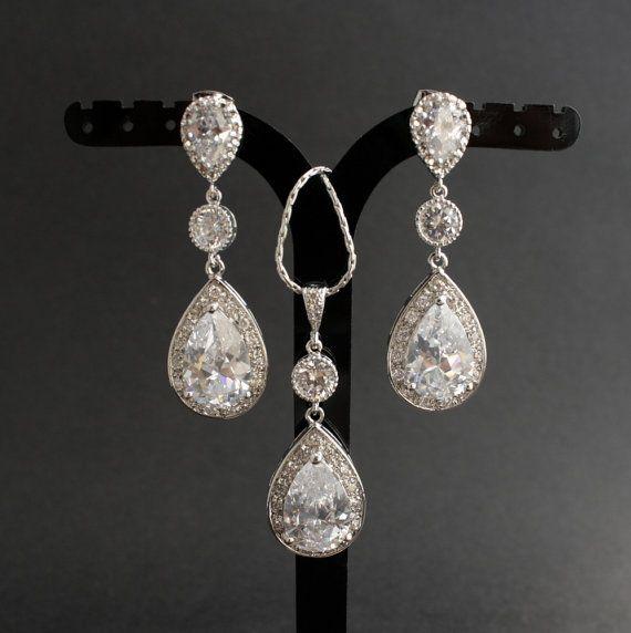 Wedding Jewelry Bridal Jewelry Set Silver Clear by poetryjewelry, $87.00