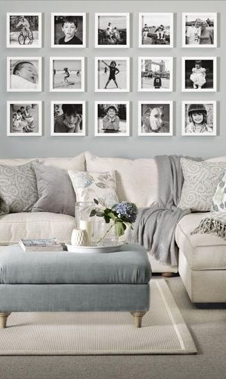 Love the black and white photo wall
