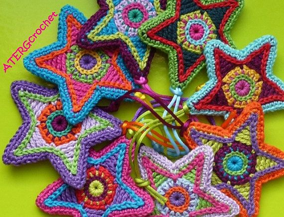 Star crochet pattern: Craft, Colorful Star, Idea, Colourful Star, Crochet Patterns, Crochet Stars