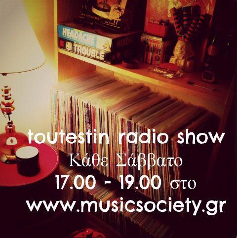 Κάθε Σάββατο ζωντανά 17.00 - 19.00 από το στούντιο του σταθμού με θέα την Ακρόπολη (όχι δεν θέλουμε κάτι άλλο..) toutestin.com - musicsociety.gr