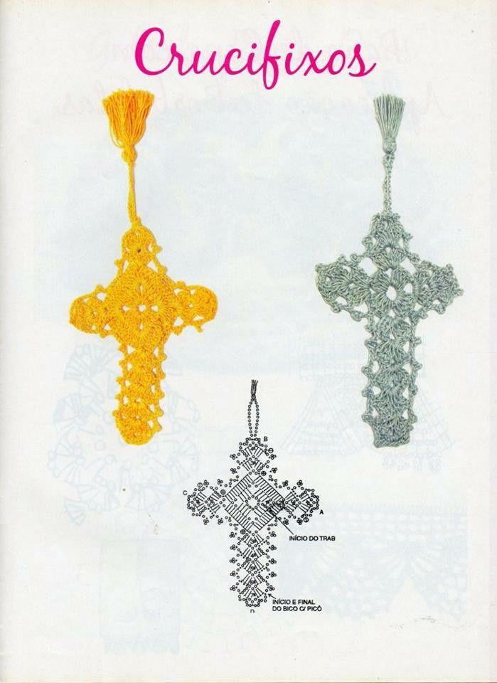 Segnalibro  croce uncinetto