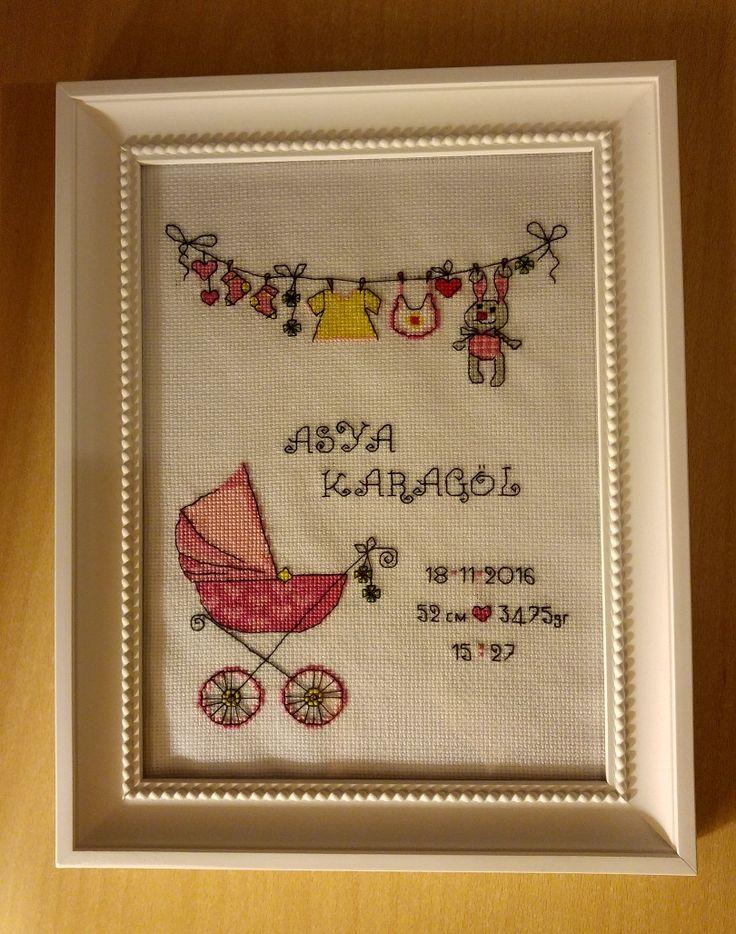 Pusetli el işi kanaviçe doğum günü panosu