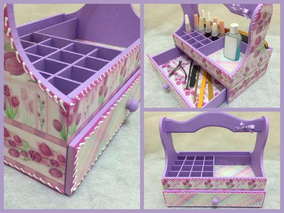Nail Polish Organizer Wooden Storage Box, with Dividers and a Drawer, Flowers Decoupage