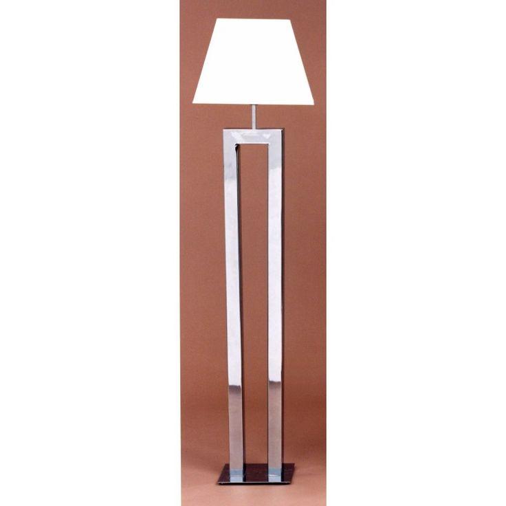 #Lampara pie de salón metálico con tubo rectangular en forma de U invertida. #Portalamparas E-27 de rosca ancha, para bombillas de bajo consumo o #led. #Ideal para #salon o #recibidor.