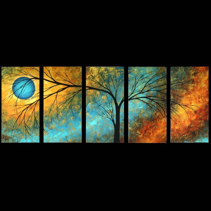 Modern Abstract Art Landscape Tree Artwork Black Silhouette Tree Art Print Set by MADART  Set of 5 10x20s Passing Beauty. $110.00, via Etsy.