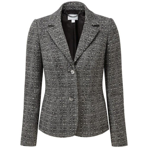 Pure Collection Sarah Textured Wool Blazer, Black/White Texture (1 990 SEK) ❤ liked on Polyvore featuring outerwear, jackets, blazers, blazer jacket, plus size peplum blazer, plus size blazers, patterned blazer and long sleeve jacket