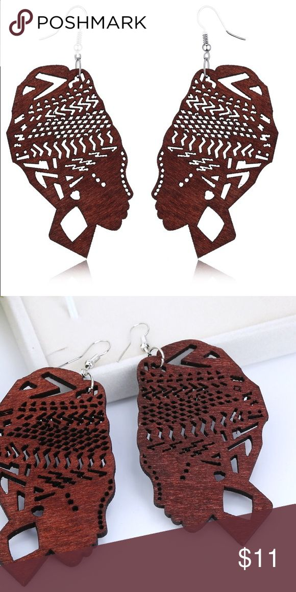 Wood African Silhouette Earrings Would Dangle Drop Earrings - Carved into the silhouette of an African Woman with Head Wrap. Jewelry Earrings